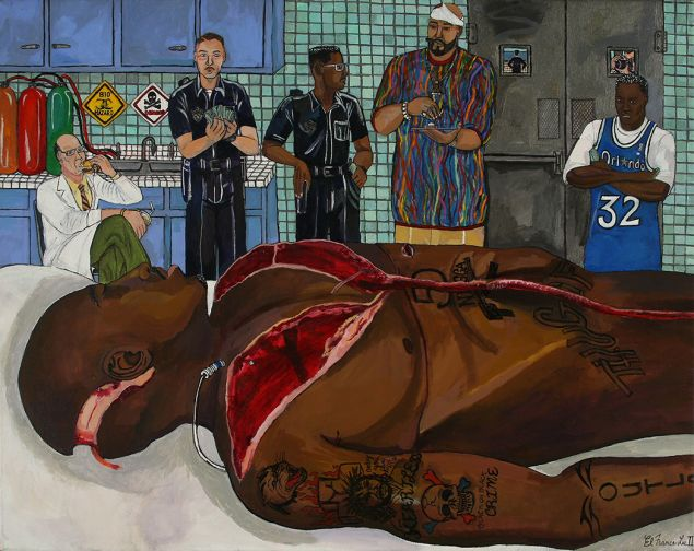 El Franco Lee II, Tupac Autopsy, 2009, giclee reproduction on canvas. (Photo: Courtesy of Marlborough Gallery)