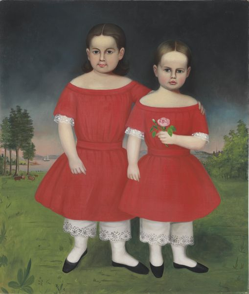 A painting attributed to Joseph Whiting Stock, Portrait of Two Girls in Pantaloons, 91815-1855). Est. $30,000-$50,000. (Photo: Christie's)