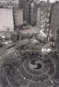 An aerial view of Adam Purple's Garden of Eden, a Lower East Side legend razed in the 1980s to make way for housing. (Photo: Tony Yarus/wikipedia)