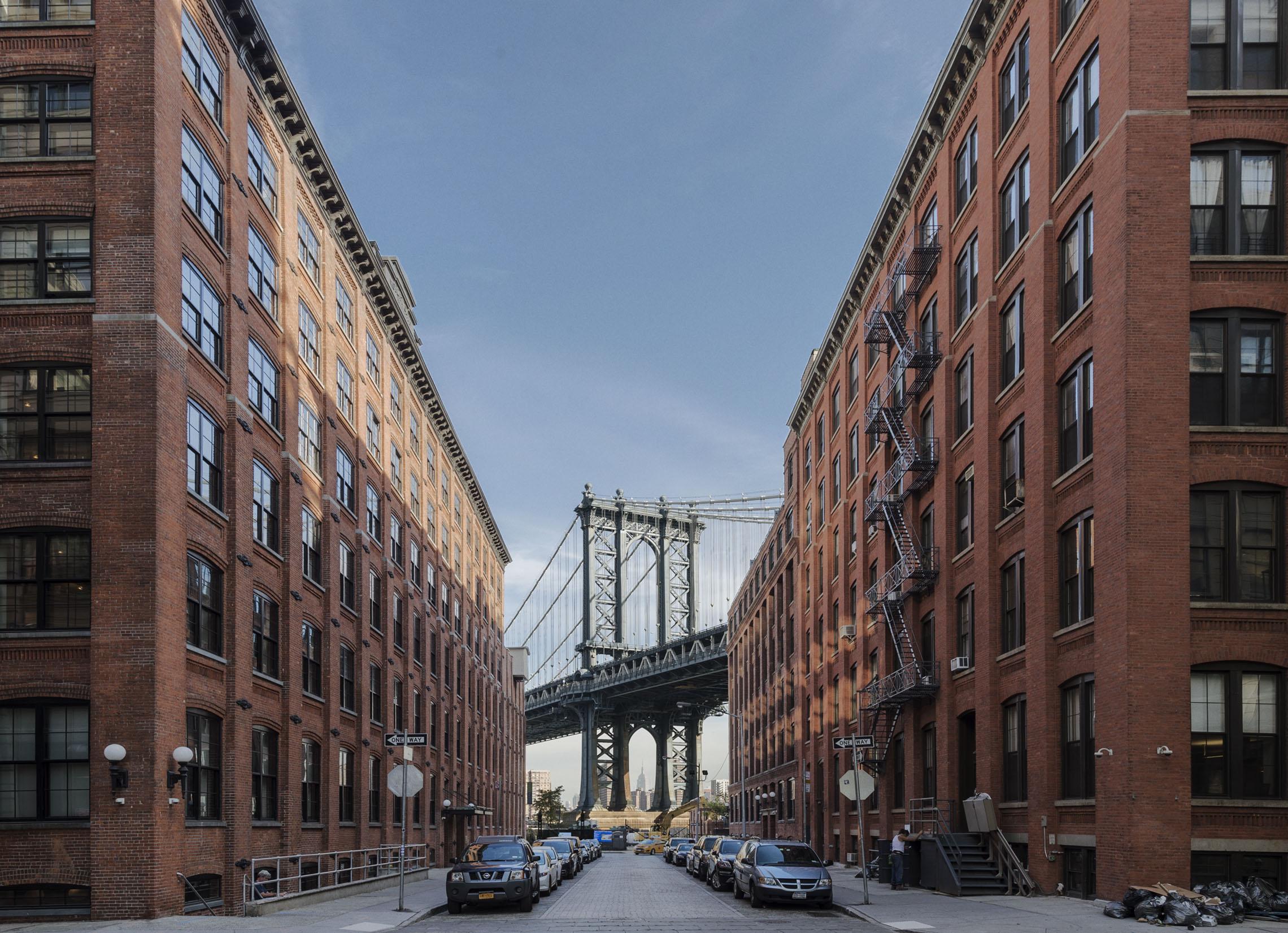 The DUMBO neighborhood of Brooklyn, see from under the Manhattan Bridge.