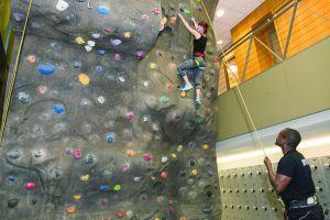 A rock-climbing wall at 10 Hanover Square.