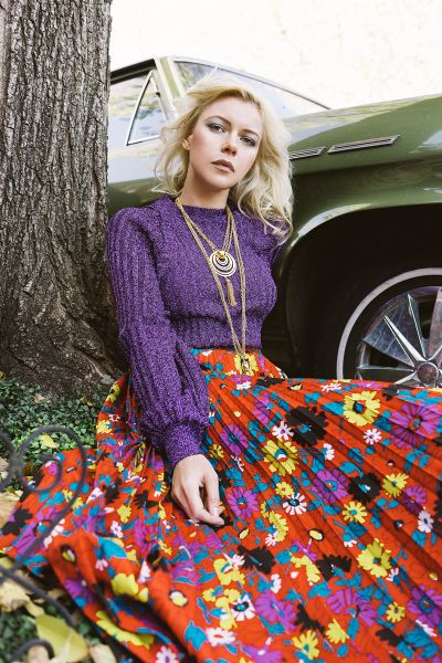 mv-feb16-01 Lurex Ribber Dolman Sleeve Top $110 Floral Print Pleated Accordion Long Skirt $120 Gold TOne Necklace $60