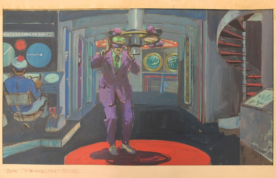 Leslie Thomas, Penguin's Submarine [with the Joker], painting for Batman, ca. 1966-68. Acrylic on board. (Image: James Branch Cabell Special Collections, Virginia Commonwealth University Libraries)