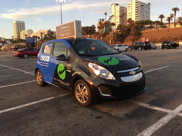 One of WaveCar's electric vehicles, featuring advertising from Oscar. (Photo: WaveCar)