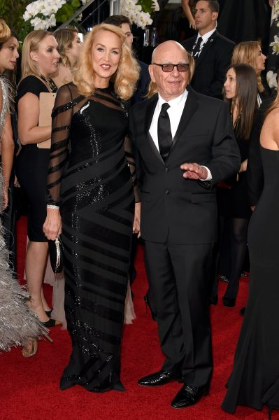 Rupert Murdoch and Jerry Hall at The Golden Globes. (Photo: Getty Images)