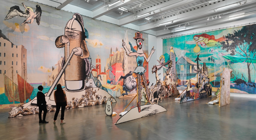 Labyrinth : I dreamed I was taller than Jonathan Borofsky, 2009, by Jim Shaw. (Photo: Courtesy of the New Museum)