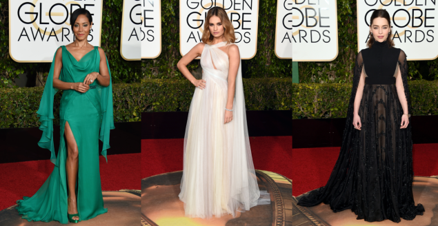 Jada Pinkett Smith in Atelier Versace, Lily James in TK and Emilia Clarke in Valentino Couture (Photos: Getty Images).