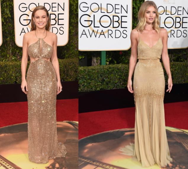 Brie Larson in Calvin Klein and Rosie Huntington-Whiteley in Atelier Versace (Photos: Getty Images).
