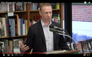 Screenshot of Max Blumenthal speaking at an event in 2014. (Politics and Prose/YouTube)