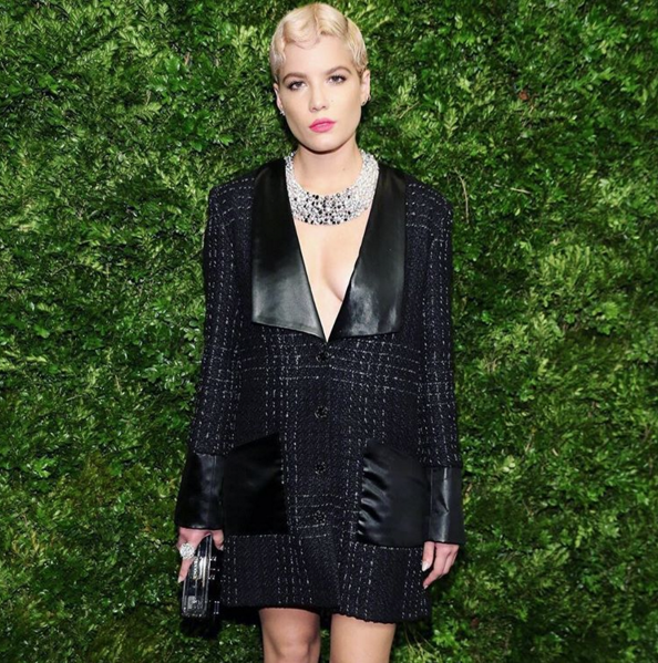 The peroxide blonde indie artist Halsey channels Gwen Stefani in Chanel (Photo: Halsey).
