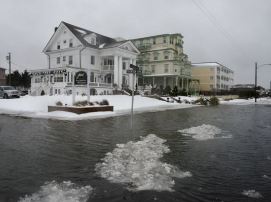 The flooding on Beach Avenue in Cape May on Saturday