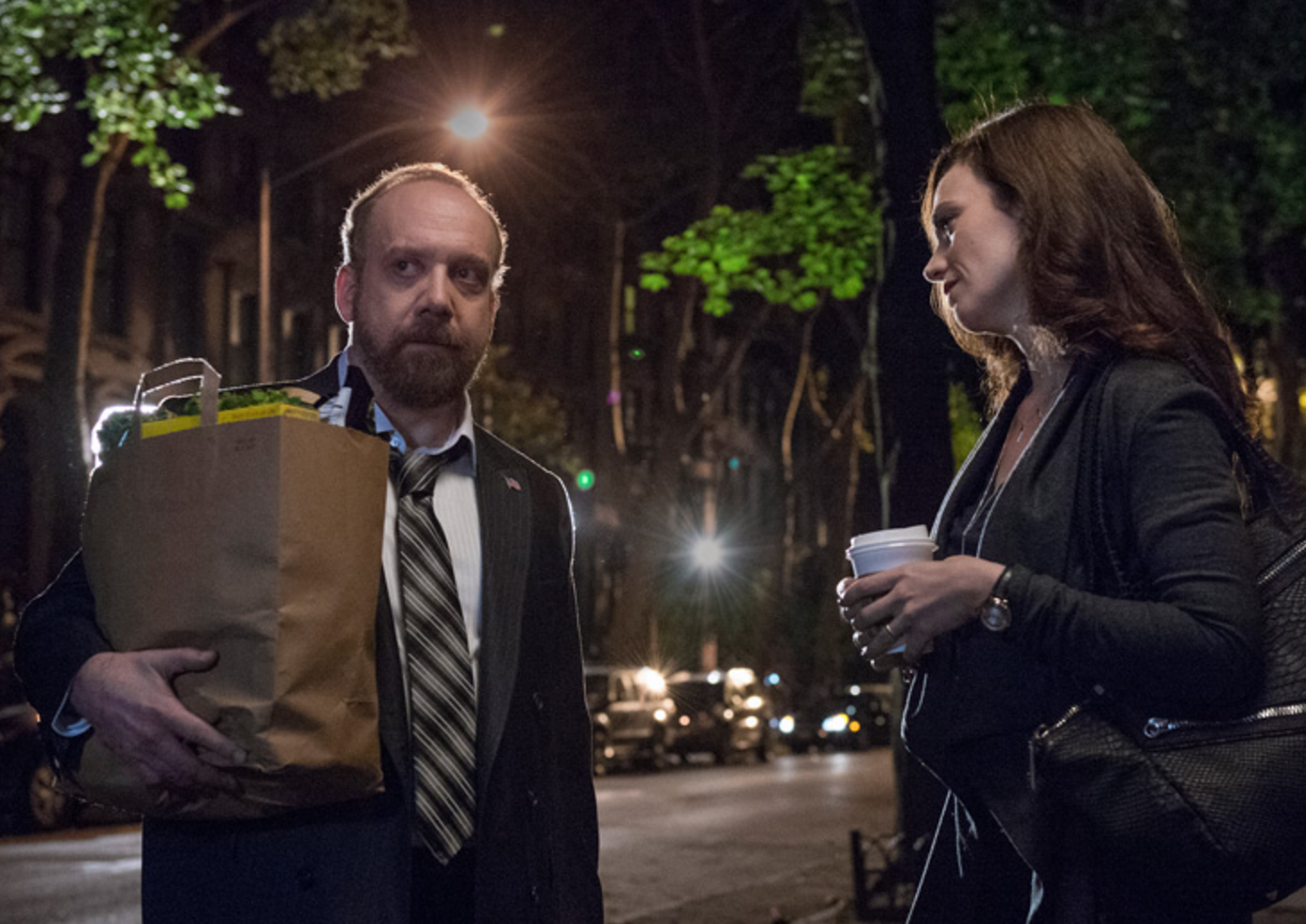 As US Attorney for the Southern District of New York, Chuck Rhoades (Paul Giamatti) polices The Street even as wife Wendy Rhoades (Maggie Siff) counsels bad apples. (Showtime)
