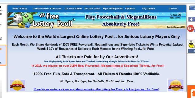 (Screenshot: My Free Lottery Pool main page)