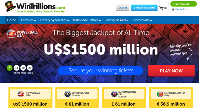 (Screenshot: Win Trillions main page)