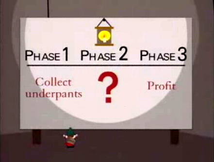 The gnomes' three-phase business plan.