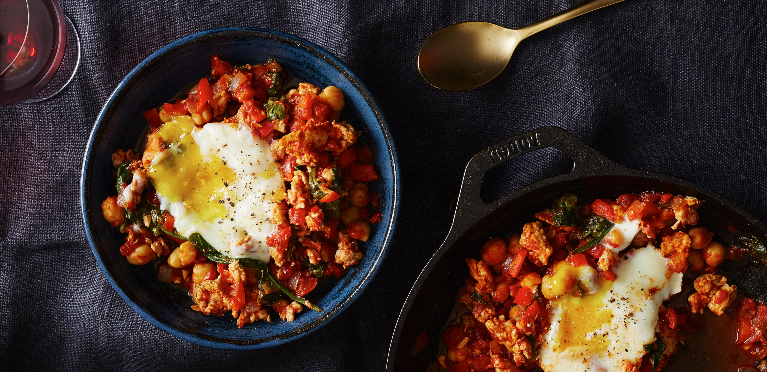 Shakshuka with Turkey, Kale, and Chickpeas. (Photo: Plated)