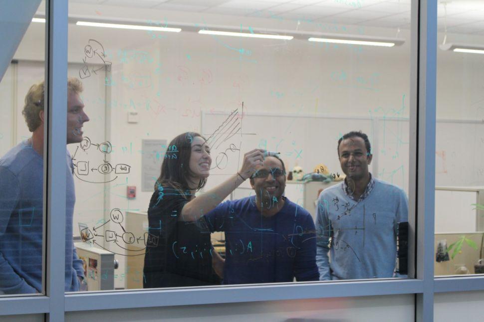 Law Order and Algorithms team at work. Left to right: Sam Corbett-Davis, Camelia Simoiu, Sharad Goel and Ravi Schroff. (Photo: Vignesh Ramachandran)