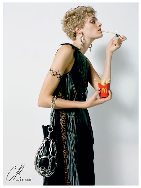 Leela Goldkuhl with french fries, shot by Felix Cooper (Photo: Courtesy CR Fashion Book).