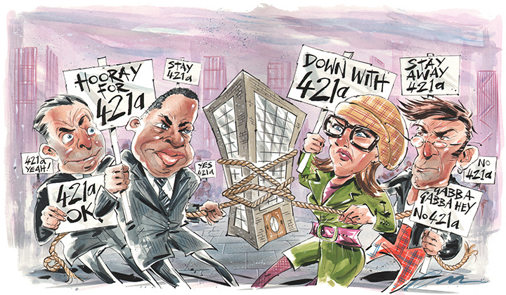 The battle over the 421a tax credit. (Illustration: Russ Tudor).