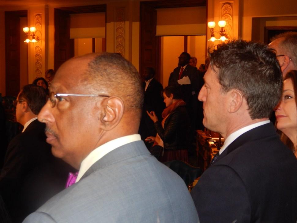 Assemblymen Gordon Johnson, left, and Andrew Zwicker.