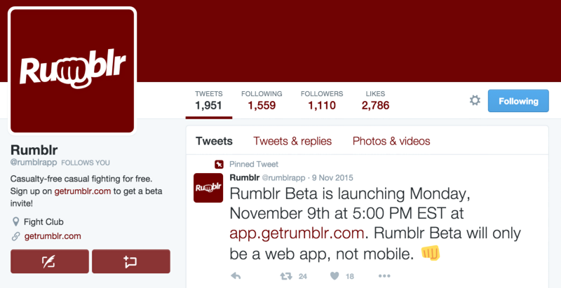 The Rumblr Twitter account