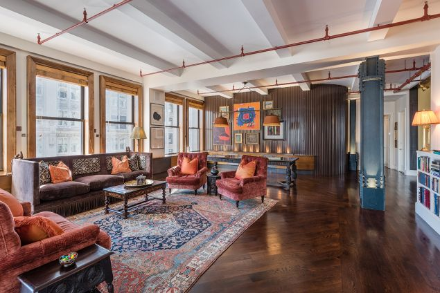 An interesting choice of furnishings for this Flatiron loft. (Courtesy Brown Harris Stevens)