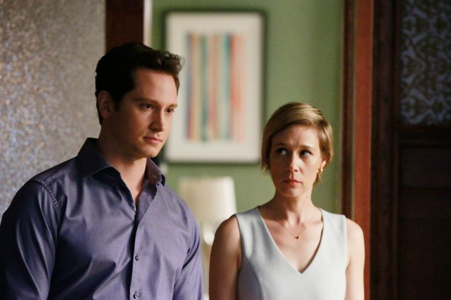 Matt McGorry and Liza Weil in How to Get Away with Murder.