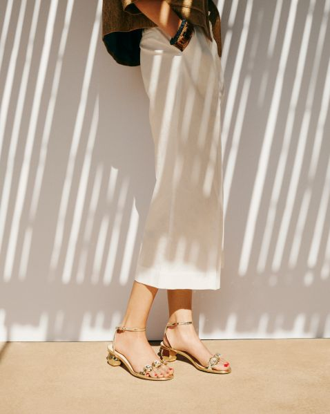 Gold sandals from Frances Valentine (Photo: Courtesy Frances Valentine).