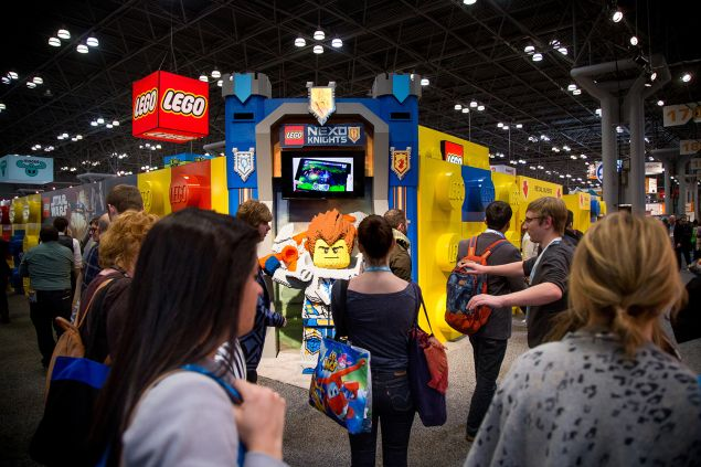 People wait for the Lego booth at the New York Toy Fair.