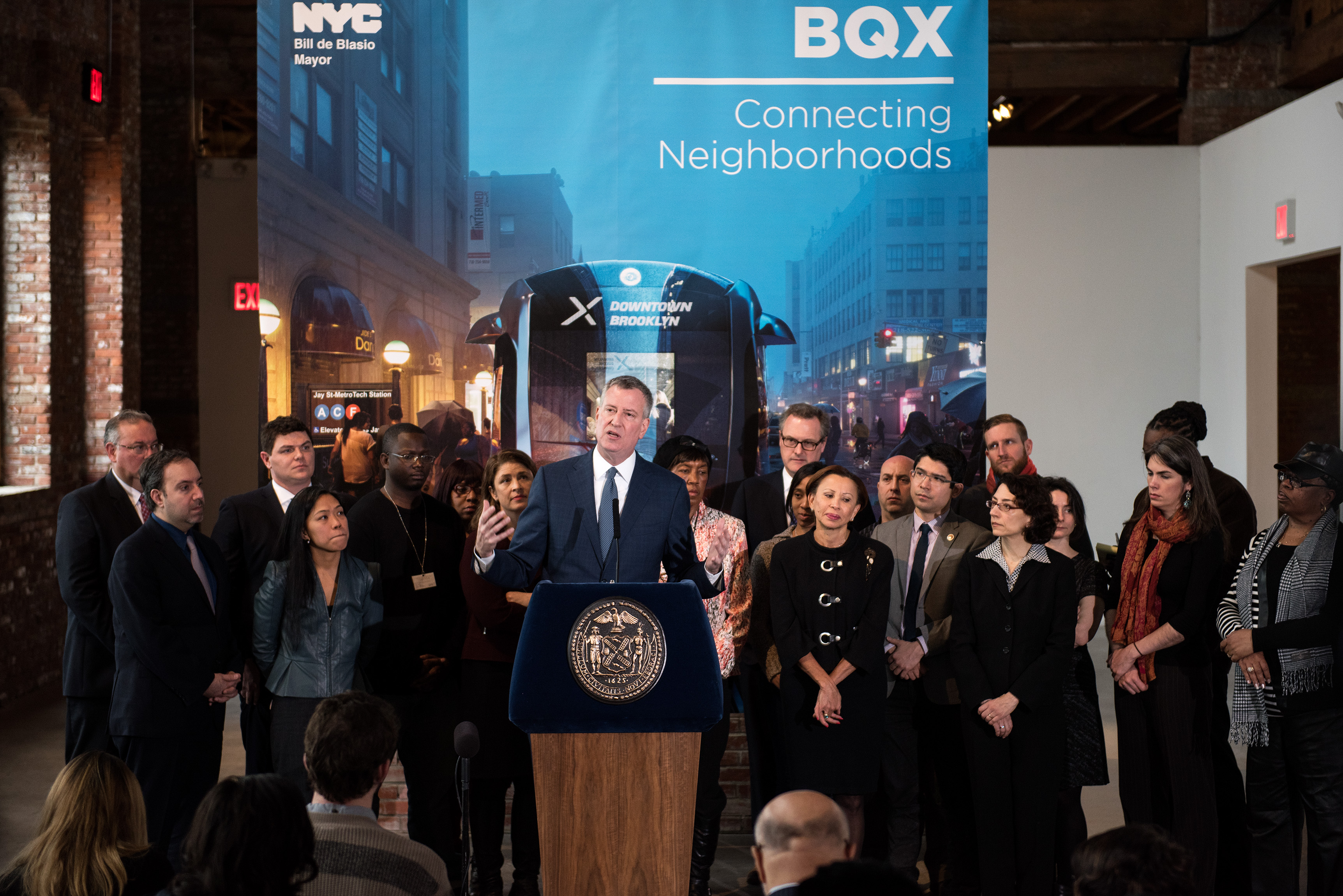 Mayor Bill de Blasio at a press conference about the Brooklyn Queens Connector today. (Photo: Demetrius Freeman/Mayoral Photography Office)
