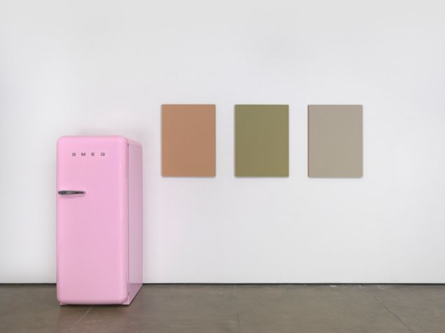 Sherrie Levine, Pink SMEG Refrigerator and Renoir Nudes, 2016.