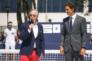 NEW YORK, NY - AUGUST 25: Tommy Hilfiger (L) and Rafael Nadal (R) speak on the court at the brand event of Rafael Nadal Global Brand Ambassadorship Launch at Bryant Park on August 25, 2015 in New York City. (Photo by Cem Ozdel/Anadolu Agency/Getty Images)