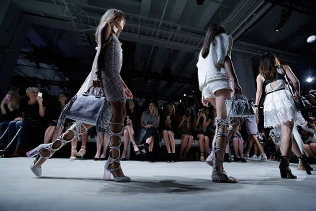 NEW YORK, NY - SEPTEMBER 12: Models walk the runway during Rebecca Minkoff during Spring 2016 New York Fashion Week: The Shows at the Gallery, Skylight at Clarkson Sq on September 12, 2015 in New York City. (Photo by John Lamparski/WireImage)