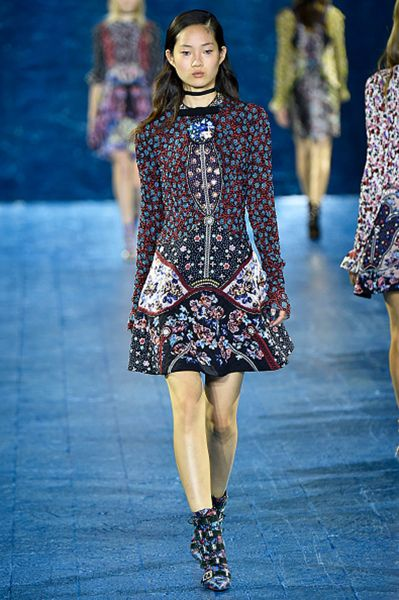 Beautifully crafted frocks from Ms. Katrantzou (Photo: Victor Virgile/Gamma-Rapho via Getty Images).