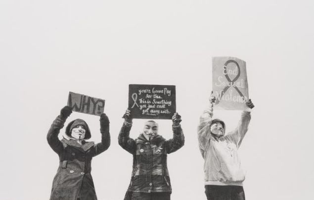 Andrea Bowers, #justiceforjanedoe, Anonymous Women Protestors, Steubenville Rape Case, March 13–17, 2013, 2014.