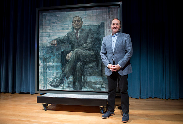"""WASHINGTON, DC - FEBRUARY 22: (EDITORS NOTE:This image has been digitally altered.) Kevin Spacey poses for a photo with a portrait of President Frank Underwood (from the Netflix series """"House Of Cards"""") at a press conference hosted by The Smithsonian and Netflix at the National Portrait Gallery on February 22, 2016 in Washington, DC."""