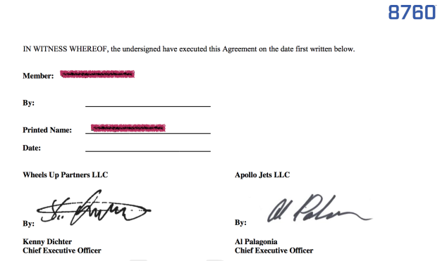 The high-profile of both companies' CEOs is part of the allure of joining 8760. Members sign a contract that is personally countersigned by Kenny Dichter and Al Palagonia, as seen here in this executed contract obtained by the Observer.