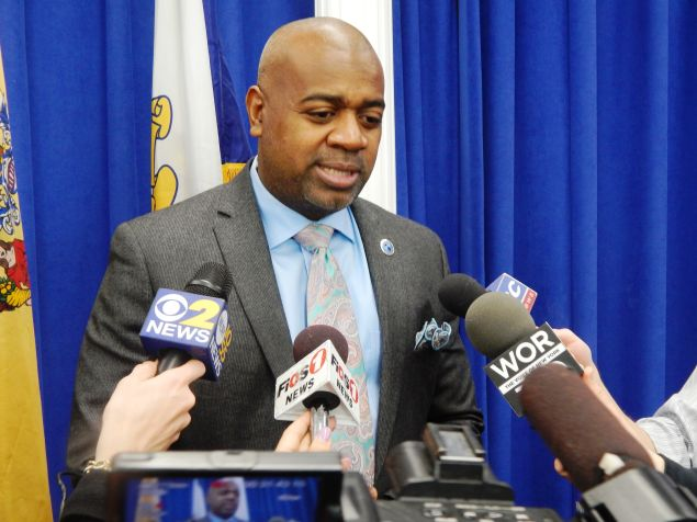 Newark Mayor Ras Baraka, who joined a group of black New Jersey mayors in decrying a recent Burlington County political mailer as racist.