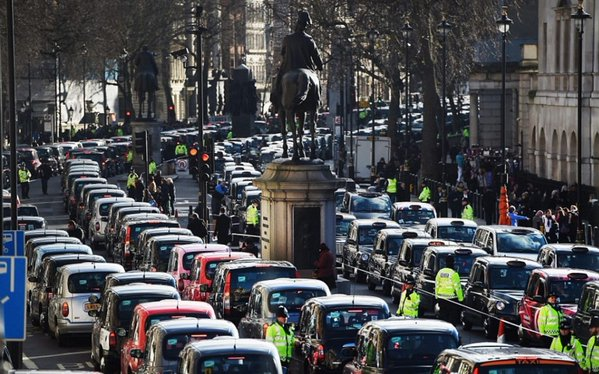 An Uber protest in London brought the city to a standstill. (Photo: Twitter)