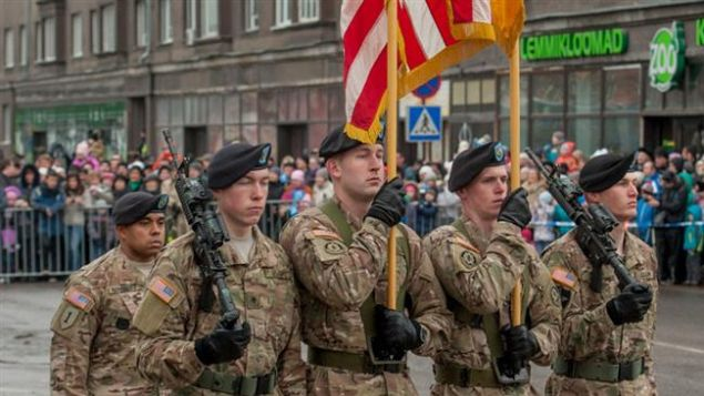US NATO troops marching on the streets of Tallinn during last year Independence Day parade.