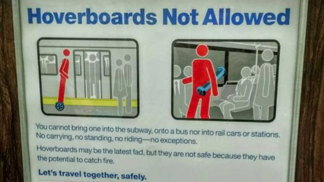Don't bring your hoverboard on the subway.