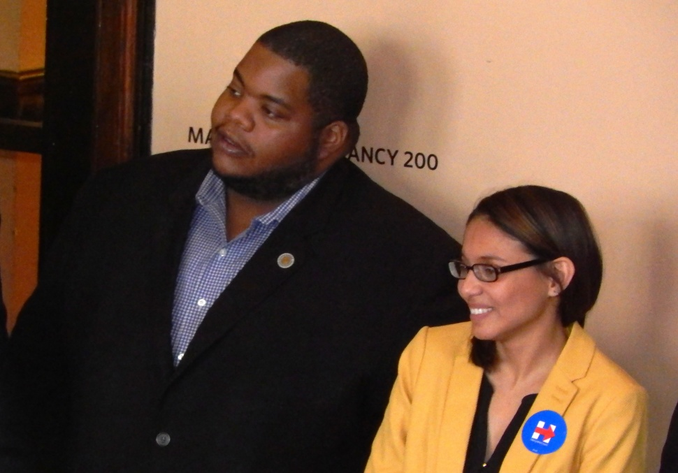 IN ATTENDANCE: Chris James of the Democratic State Committee and Assemblywoman Gabriela Mosquera of South Jersey.