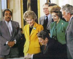 Congressman Charles Rangel at the signing of the Anti-Drug Abuse Act of 1986.