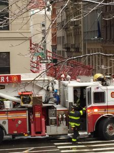 Fire officials responding to the Tribeca crane collapse. (Photo: Terence Cullen for Observer)