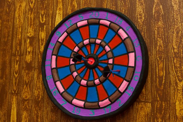 A detail of a dartboard made by Ms. Reed.