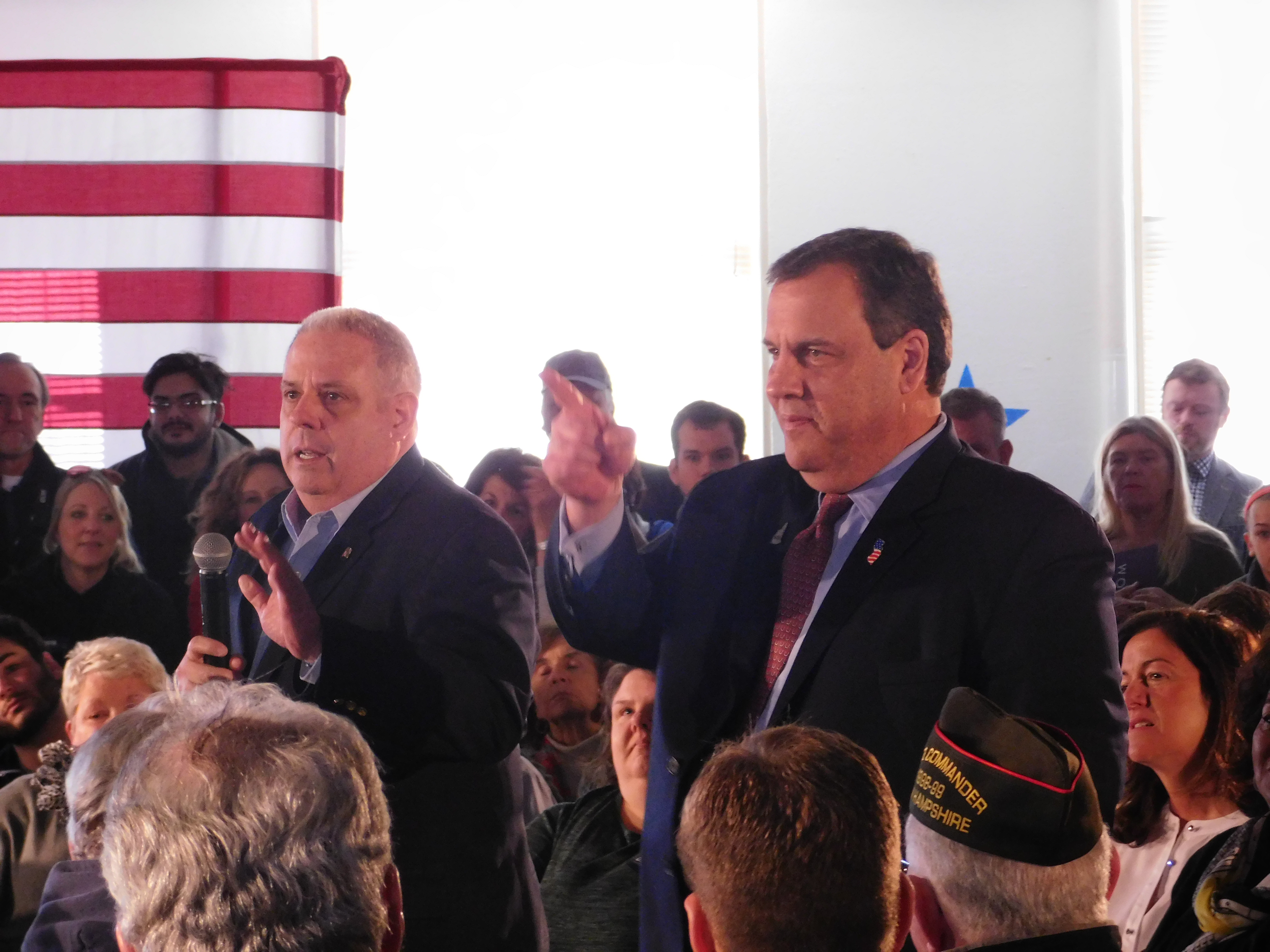 Maryland Governor Larry Hogan and New Jersey Governor Chris Christie at a NH town hall.