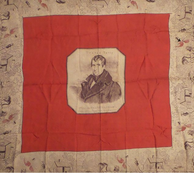 A silk bandana promoting William H. Harrison