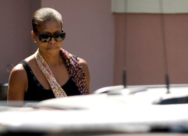 First Lady Michelle Obama leaves the beach club Villa Padierna in Estepona, on August 6, 2010 during her vacation in southern Spain.
