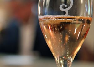 Flute of rosé champagne during a tasting session. (Photo Francois Nascimbeni/AFP/Getty Images)