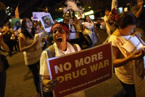 Protesters call for an end to the War on Drugs.